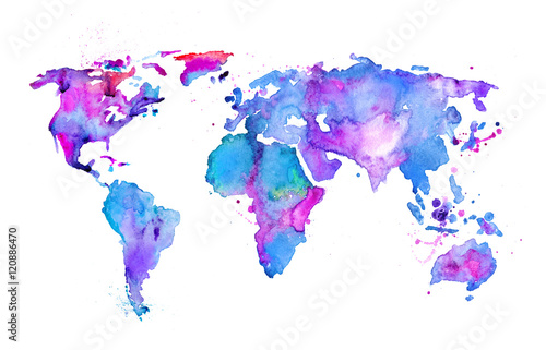 Juliste Watercolor map of the world isolated on white