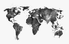 Illustrated map of the world with a isolated background. Black watercolor