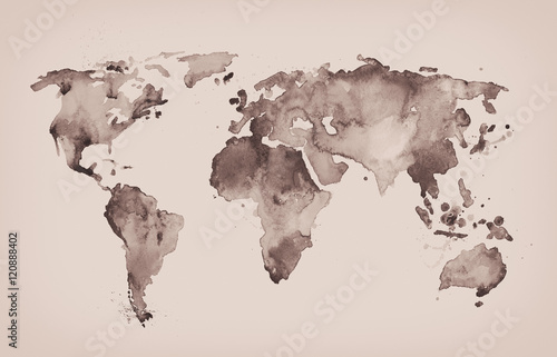 Fototapeta World map in old style in format, brown graphics in a retro sty