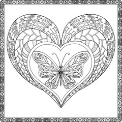 Decorative love heart and butterfly