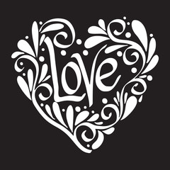 Decorated patterned Love Heart