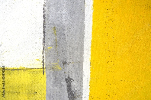 Grey and Yellow Abstract Art Painting - 120893234
