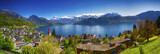 Fototapety Panorama image of village Weggis, lake Lucerne (Vierwaldstatersee), Pilatus mountain and Swiss Alps in the background near famous Lucerne (Luzern) city, Switzerland