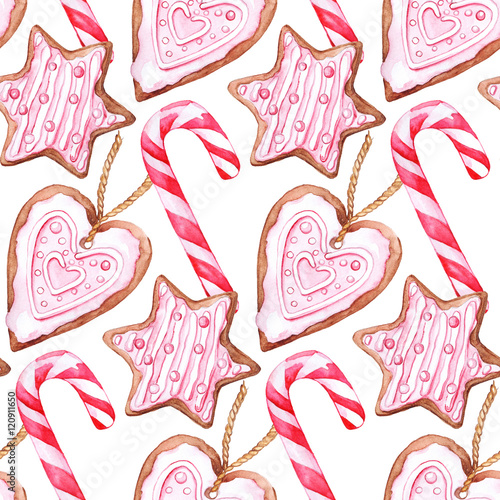 Materiał do szycia Watercolor Christmas candy cane ginger biscuits seamless pattern