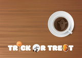 Vector Halloween Business party illustration. Trick or treat, cup of coffee with ghost, napkin on wooden desk background.