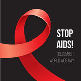 World Aids Day. Red Awareness. Realistic ribbon on black background. Corner composition for postcard poster or web banner