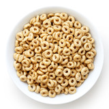Bowl of honey cheerios isolated on white from above.