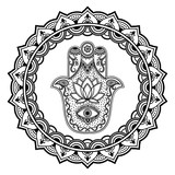 """Hamsa hand drawn symbol in mandala. Mehndi style.Decorative pattern in oriental style. For henna tattoos, and decorative design documents and premises. 121125829,Carrelet de pêche """""""