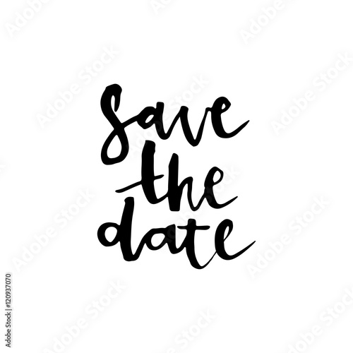 Save the date card, hand drawn lettering. Poster