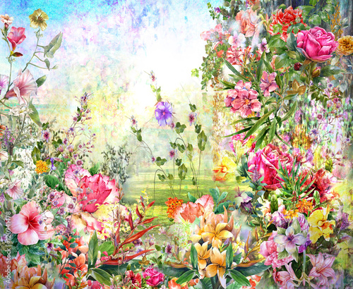 Fototapeta Abstract flowers watercolor painting. Spring multicolored flowers