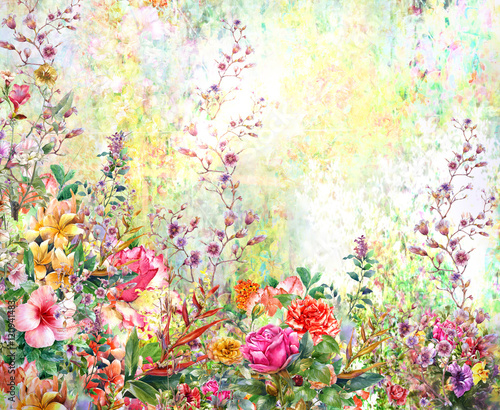 Fototapety, obrazy : Abstract flowers watercolor painting. Spring multicolored flowers
