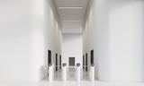 White corridor with turnstiles