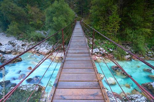 Poster Hängebrücke im Soca Valley, Slowenien