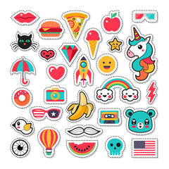 Trendy fashion chic patches, pins, badges and stickers design se