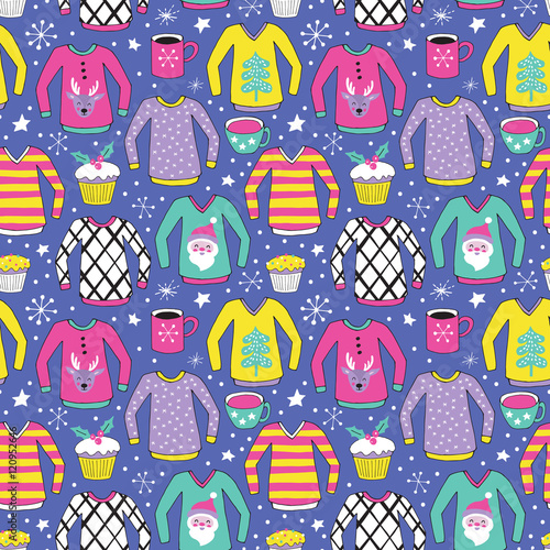 Materiał do szycia Christmas ugly sweater seamless pattern design. Hand drawing vec