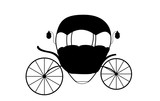 Black and White Cinderella Fairytale carriage. Vector Illustrati