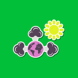 paper sticker on stylish background of earth greenhouse effect