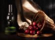 still life of apples and kerosene lamp. rustic style