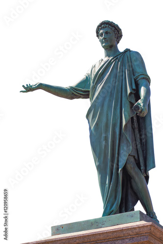 Isolated Ancient Statue of Duke in Odessa City, Ukraine