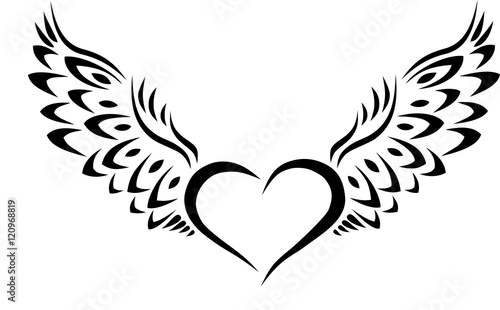 Heart with Wings Tribal Tattoo