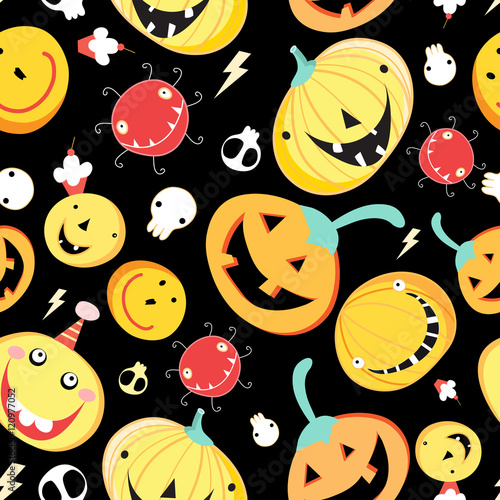 Cotton fabric Seamless pattern with funny pumpkins for Halloween