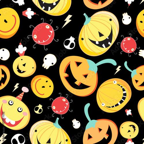 Materiał do szycia Seamless pattern with funny pumpkins for Halloween
