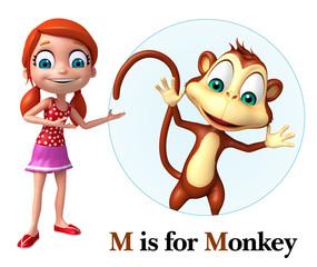 Kid girl poiniting Monkey