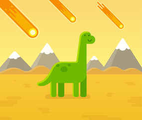Asteroid strike dinosaur cartoon