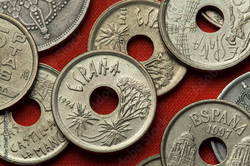 Poster Coins of Spain. Canary Islands Dragon Tree
