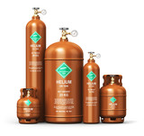 Set of different liquefied helium industrial gas containers