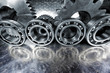 steel and titanium cogwheels and ball-bearings, aerospace parts