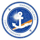 Nautical Travel Stamp with Marshall Islands Flag and Anchor. Marine rubber stamp, with round rope border and anchor symbol on flag background. Vector illustration.