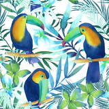 Watercolor seamless pattern with toucans