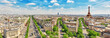 Leinwanddruck Bild - Beautiful panoramic view of Paris from the roof of the Triumphal