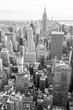 View of Midtown Manhattan New York City skyline in monochrome black and white - 121020036