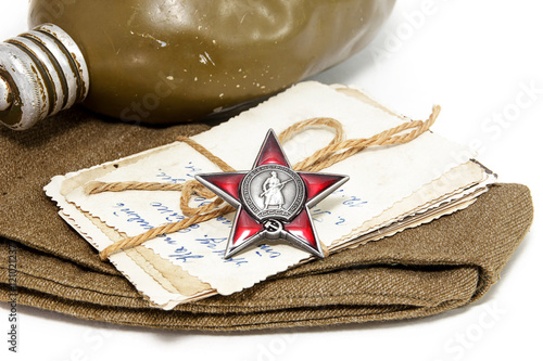 Poster Order of the Red Star, old photographs, field cap and flask. Pos