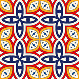 Seamless pattern with symmetric geometric ornament. Bright abstract background.