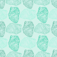 Abstract seamless pattern with shells mint color