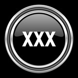 xxx silver chrome metallic round web icon on black background