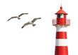 Leinwanddruck Bild - Leuchtturm mit Möwen