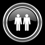 couple silver chrome metallic round web icon on black background