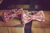 bow tie handmade on a vintage wooden background