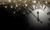 Black 2017 New Year clock background.
