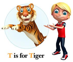 Kid boy pointing Tiger