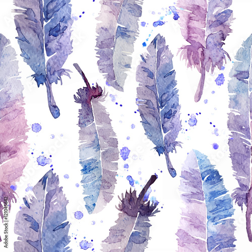 Watercolor feathers and blot seamless pattern. - 121045642
