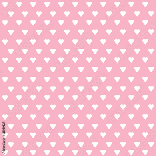 Seamless vector pattern with white hearts on pastel background - 121050827