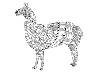 lama Coloring vector for adults