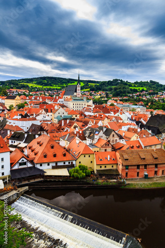 Aerial view of castle and houses in Cesky Krumlov, Czech republic. UNESCO World Heritage Site. © daliu