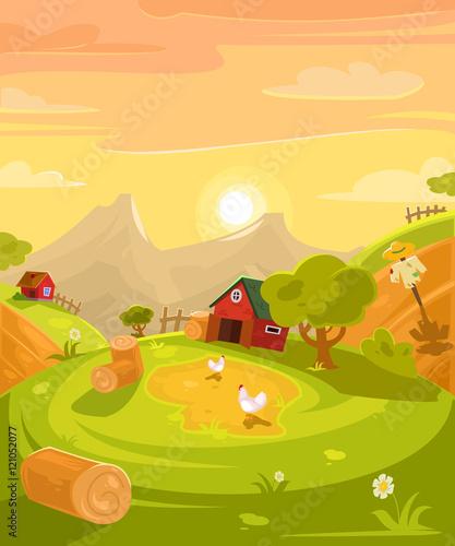Fotobehang Boerderij Vector retro illustration of the countryside.
