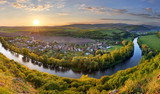 Fototapety Spring Slovakia panorama landscape with river Hron.